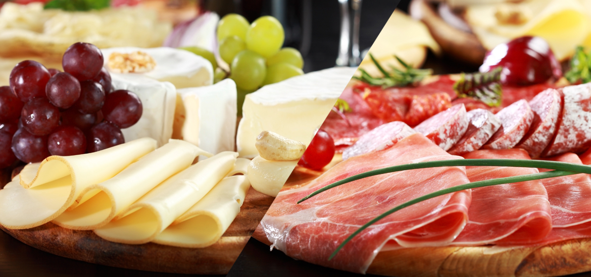 Platter of deli meats and cheeses